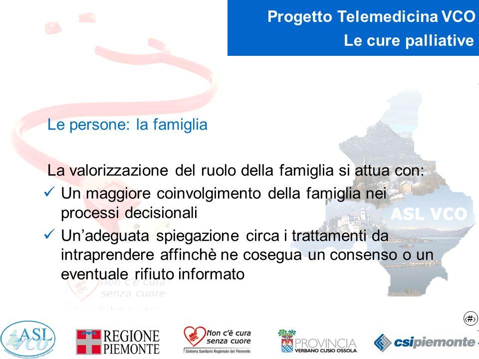 11 Progetto Telemedicina VCO Le cure palliative Le persone: la famiglia La valorizzazione del ruolo della famiglia si attua con: Un maggiore coinvolgi