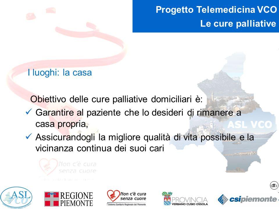 13 Progetto Telemedicina VCO Le cure palliative I luoghi: la casa Obiettivo delle cure palliative domiciliari è: Garantire al paziente che lo desideri