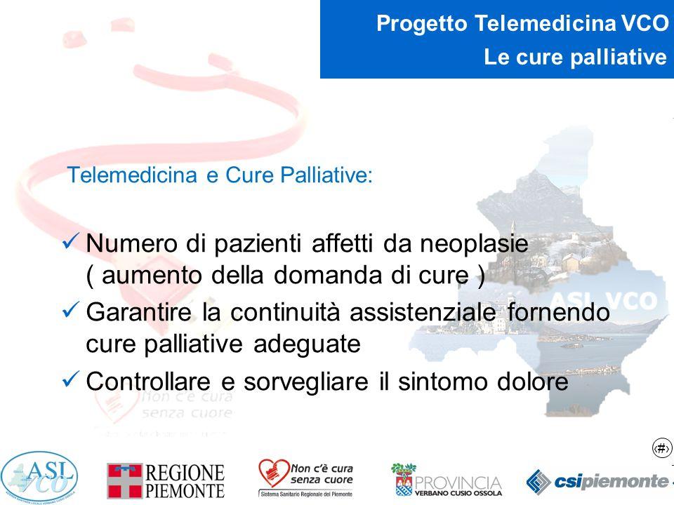 14 Progetto Telemedicina VCO Le cure palliative Telemedicina e Cure Palliative: Numero di pazienti affetti da neoplasie ( aumento della domanda di cur