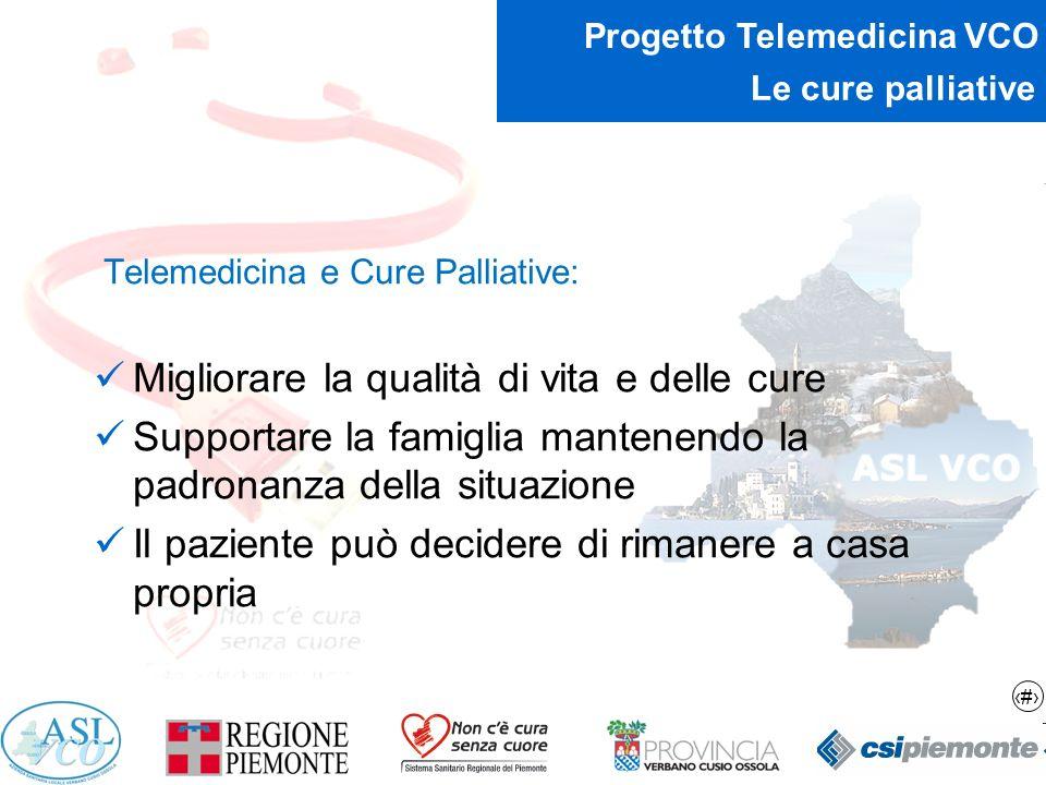 15 Progetto Telemedicina VCO Le cure palliative Telemedicina e Cure Palliative: Migliorare la qualità di vita e delle cure Supportare la famiglia mant