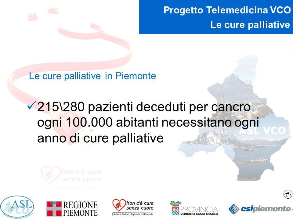 7 Progetto Telemedicina VCO Le cure palliative Le cure palliative in Piemonte 215\280 pazienti deceduti per cancro ogni 100.000 abitanti necessitano o