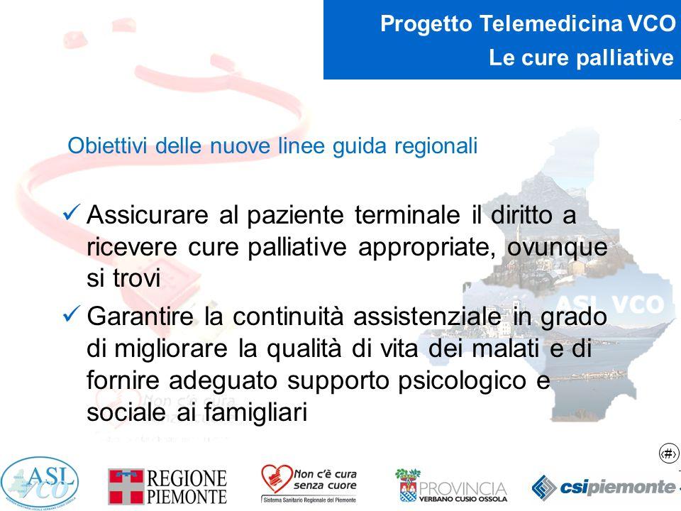 10 Progetto Telemedicina VCO Le cure palliative Obiettivi delle nuove linee guida regionali Offrire la possibilità di cure domiciliari di elevata qualità che consentano, a chi lo desideri, di essere assistito a casa fino alla fine, con una riduzione significativa dei ricoveri impropri