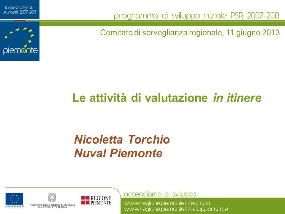 Le attività di valutazione in itinere Nicoletta Torchio Nuval Piemonte Comitato di sorveglianza regionale, 11 giugno 2013