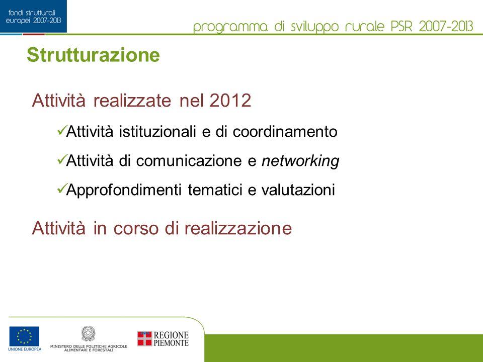 Strutturazione Attività realizzate nel 2012 Attività istituzionali e di coordinamento Attività di comunicazione e networking Approfondimenti tematici