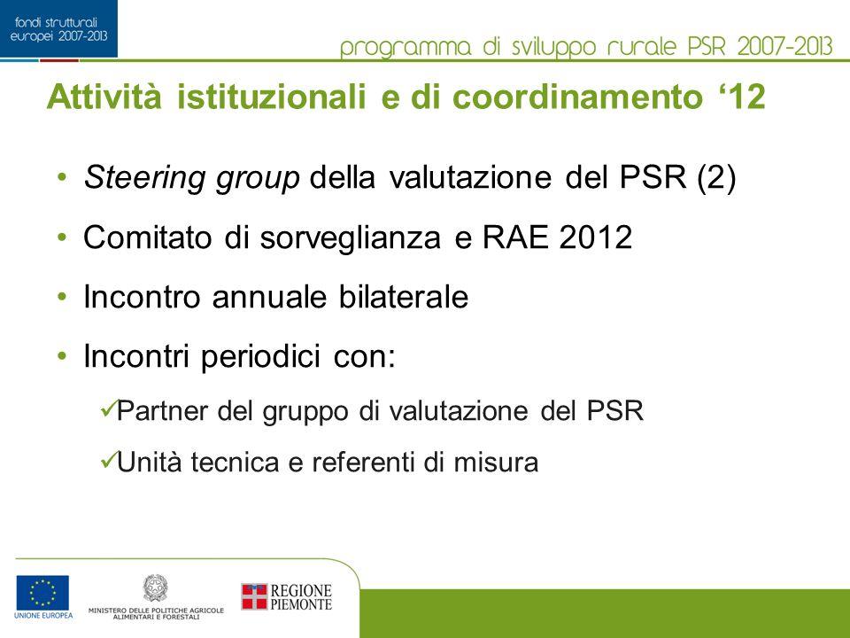 Attività istituzionali e di coordinamento 12 Steering group della valutazione del PSR (2) Comitato di sorveglianza e RAE 2012 Incontro annuale bilater