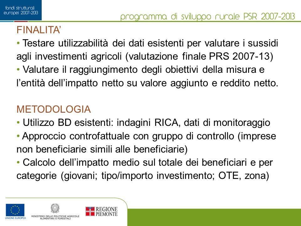FINALITA Testare utilizzabilità dei dati esistenti per valutare i sussidi agli investimenti agricoli (valutazione finale PRS 2007-13) Valutare il ragg