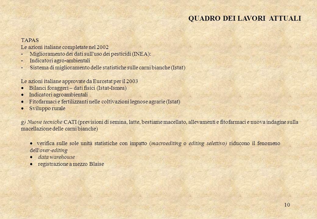 10 TAPAS Le azioni italiane completate nel 2002 - Miglioramento dei dati sull'uso dei pesticidi (INEA): - Indicatori agro-ambientali - Sistema di migl