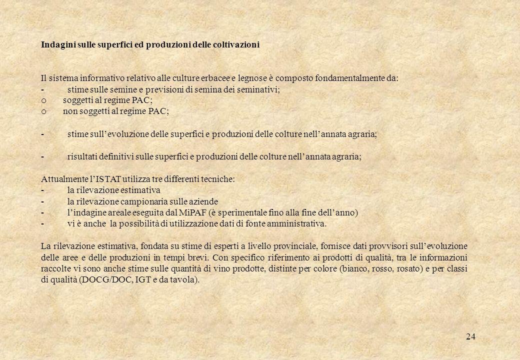24 Indagini sulle superfici ed produzioni delle coltivazioni Il sistema informativo relativo alle culture erbacee e legnose è composto fondamentalment