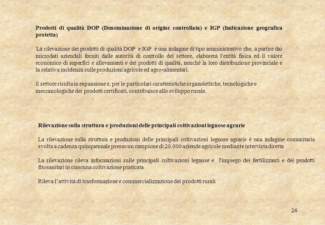 26 Prodotti di qualità DOP (Denominazione di origine controllata) e IGP (Indicazione geografica protetta) La rilevazione dei prodotti di qualità DOP e