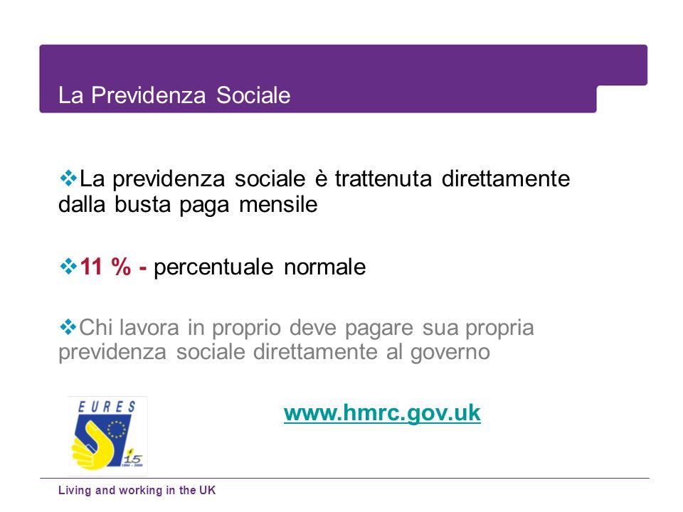 La previdenza sociale è trattenuta direttamente dalla busta paga mensile 11 % - percentuale normale Chi lavora in proprio deve pagare sua propria prev