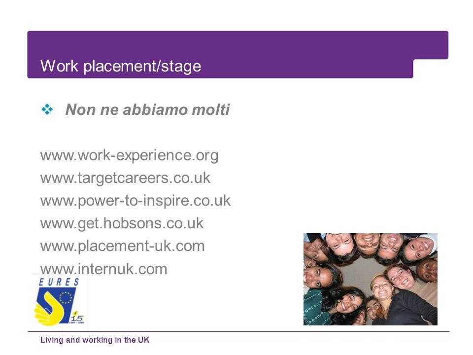 Non ne abbiamo molti www.work-experience.org www.targetcareers.co.uk www.power-to-inspire.co.uk www.get.hobsons.co.uk www.placement-uk.com www.internu