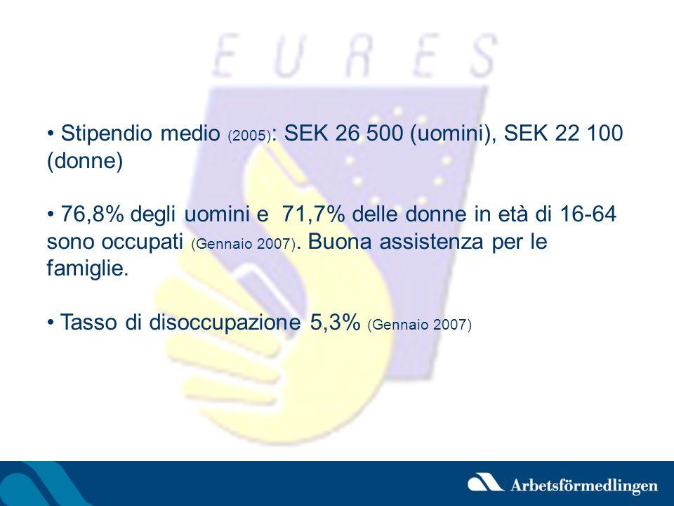 Stipendio medio (2005) : SEK 26 500 (uomini), SEK 22 100 (donne) 76,8% degli uomini e 71,7% delle donne in età di 16-64 sono occupati (Gennaio 2007).
