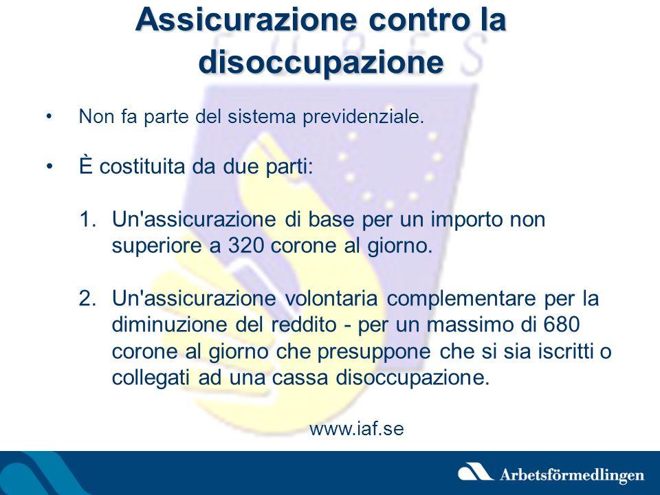 Assicurazione contro la disoccupazione Non fa parte del sistema previdenziale. È costituita da due parti: 1.Un'assicurazione di base per un importo no