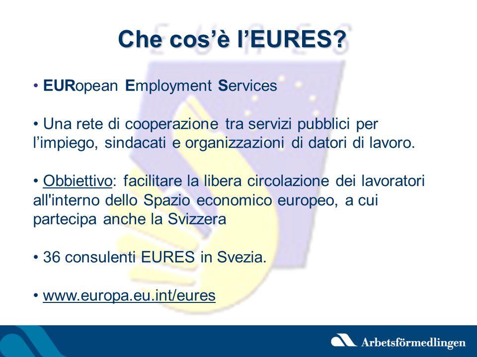 Che cosè lEURES? EURopean Employment Services Una rete di cooperazione tra servizi pubblici per limpiego, sindacati e organizzazioni di datori di lavo