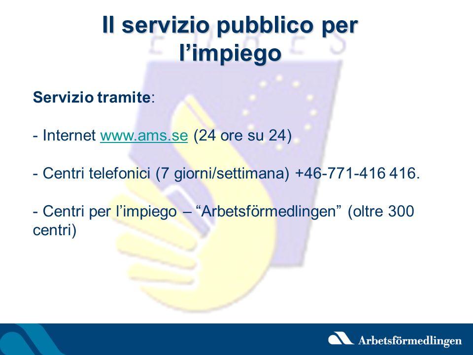 Il servizio pubblico per limpiego Servizio tramite: - Internet www.ams.se (24 ore su 24)www.ams.se - Centri telefonici (7 giorni/settimana) +46-771-41
