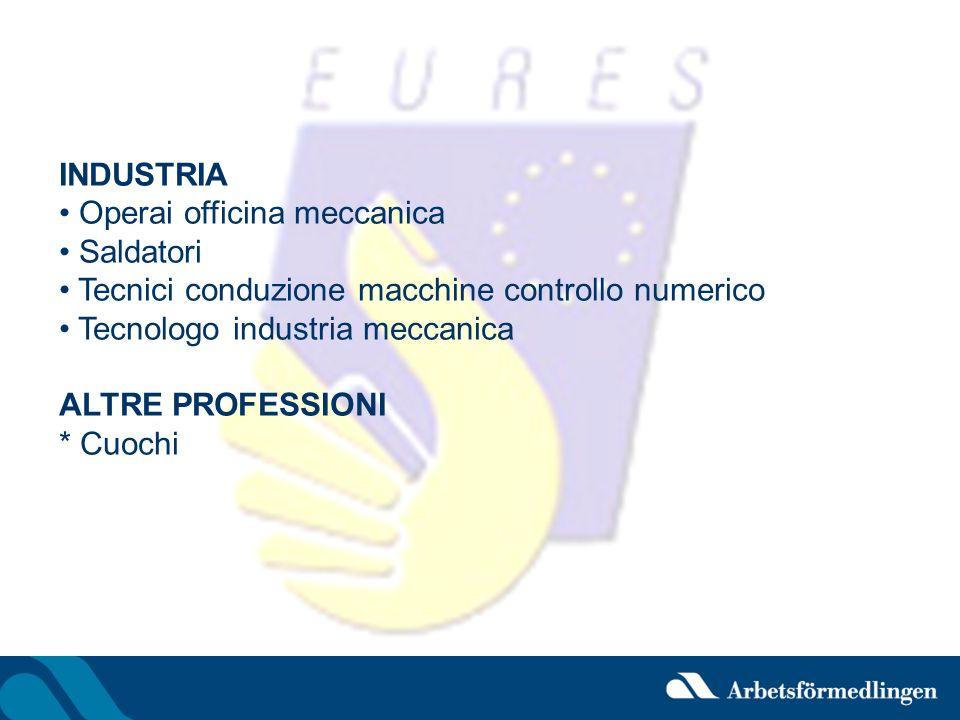 INDUSTRIA Operai officina meccanica Saldatori Tecnici conduzione macchine controllo numerico Tecnologo industria meccanica ALTRE PROFESSIONI * Cuochi