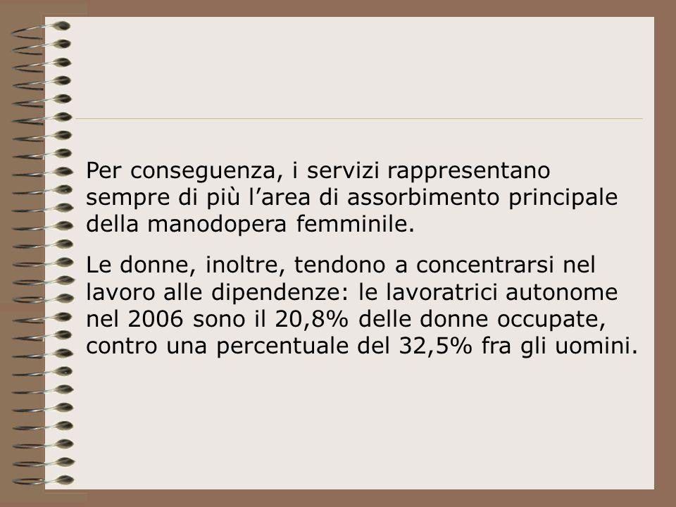 Per conseguenza, i servizi rappresentano sempre di più larea di assorbimento principale della manodopera femminile.
