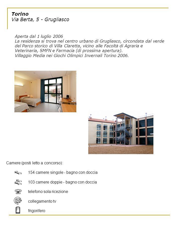 Torino Via Berta, 5 - Grugliasco Aperta dal 1 luglio 2006 La residenza si trova nel centro urbano di Grugliasco, circondata dal verde del Parco storic