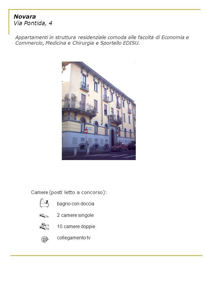 Novara Via Pontida, 4 Appartamenti in struttura residenziale comoda alle facoltà di Economia e Commercio, Medicina e Chirurgia e Sportello EDISU. Came