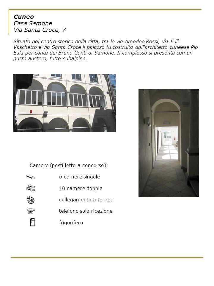 Cuneo Casa Samone Via Santa Croce, 7 Situato nel centro storico della città, tra le vie Amedeo Rossi, via F.lli Vaschetto e via Santa Croce il palazzo