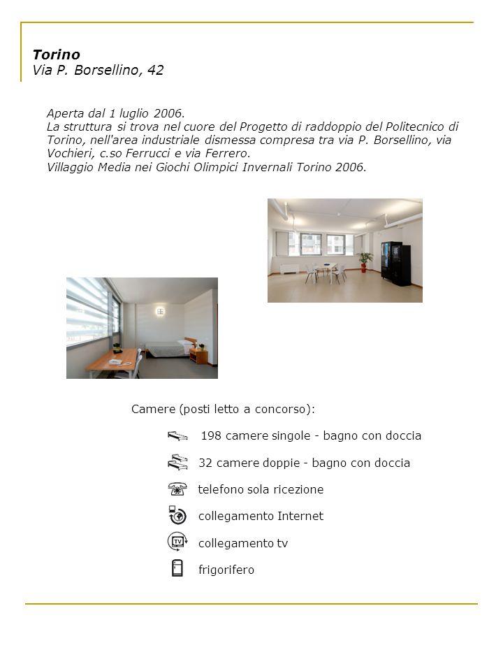Torino Via P. Borsellino, 42 Aperta dal 1 luglio 2006. La struttura si trova nel cuore del Progetto di raddoppio del Politecnico di Torino, nell'area