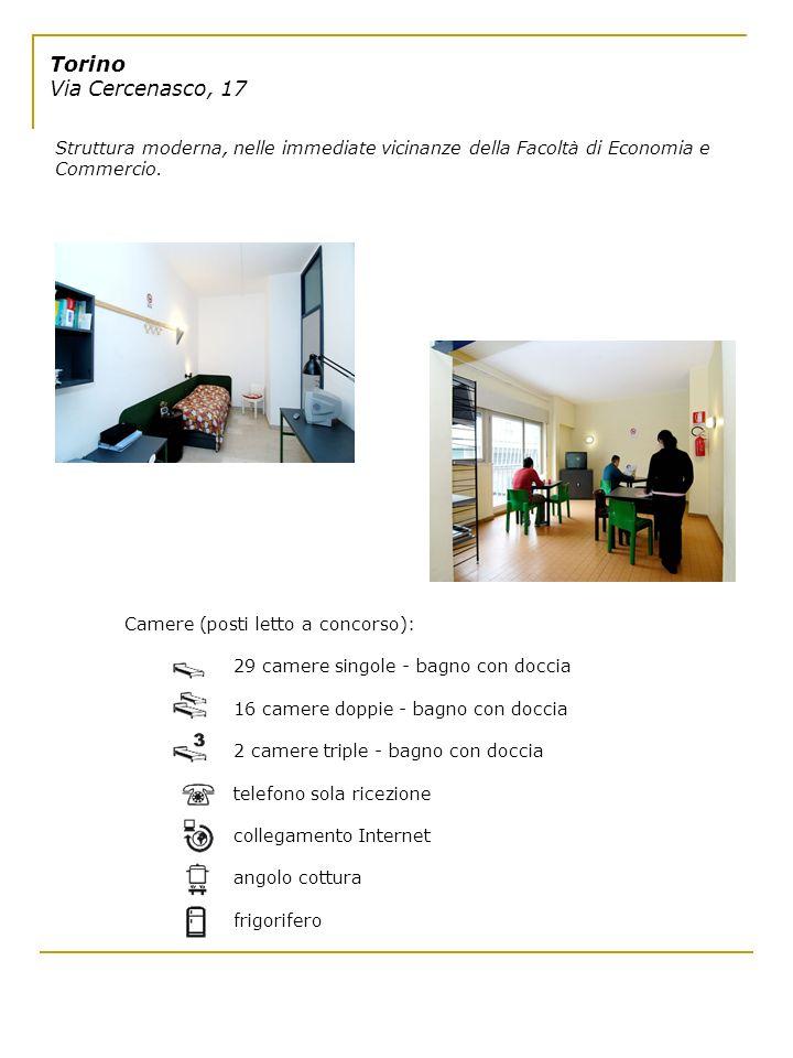 Torino Via Cercenasco, 17 Struttura moderna, nelle immediate vicinanze della Facoltà di Economia e Commercio. Camere (posti letto a concorso): 29 came
