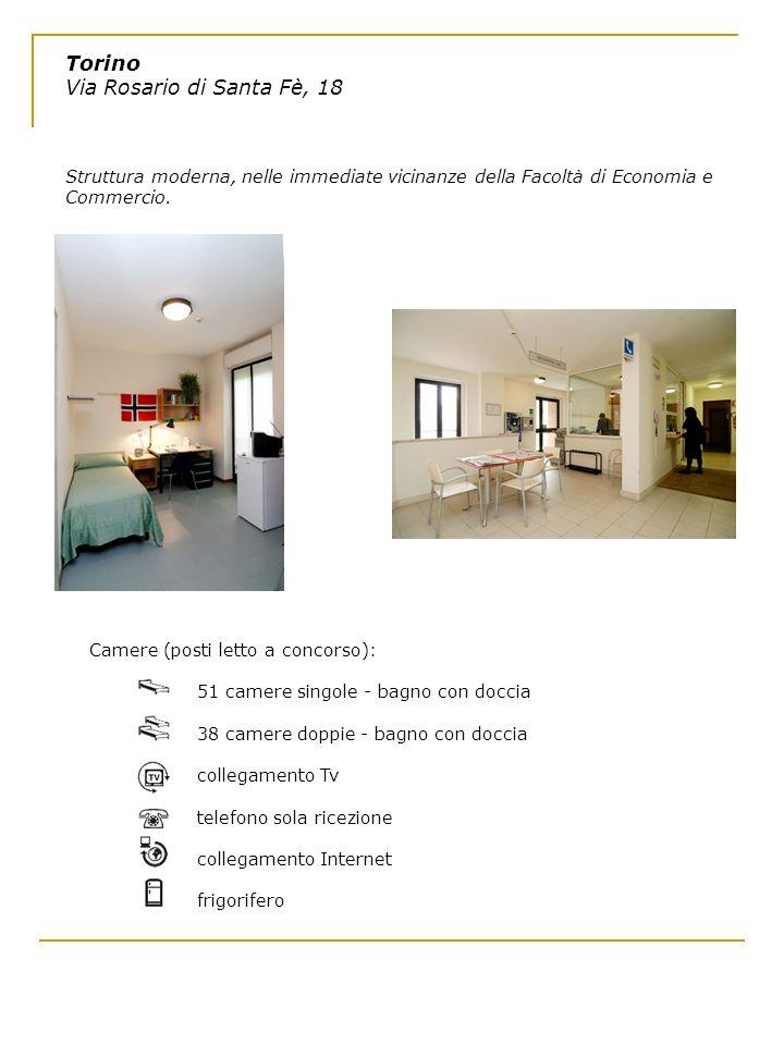 Torino Via Rosario di Santa Fè, 18 Struttura moderna, nelle immediate vicinanze della Facoltà di Economia e Commercio. Camere (posti letto a concorso)