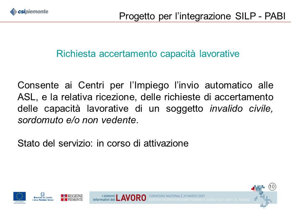 10 Progetto per lintegrazione SILP - PABI Consente ai Centri per lImpiego linvio automatico alle ASL, e la relativa ricezione, delle richieste di acce