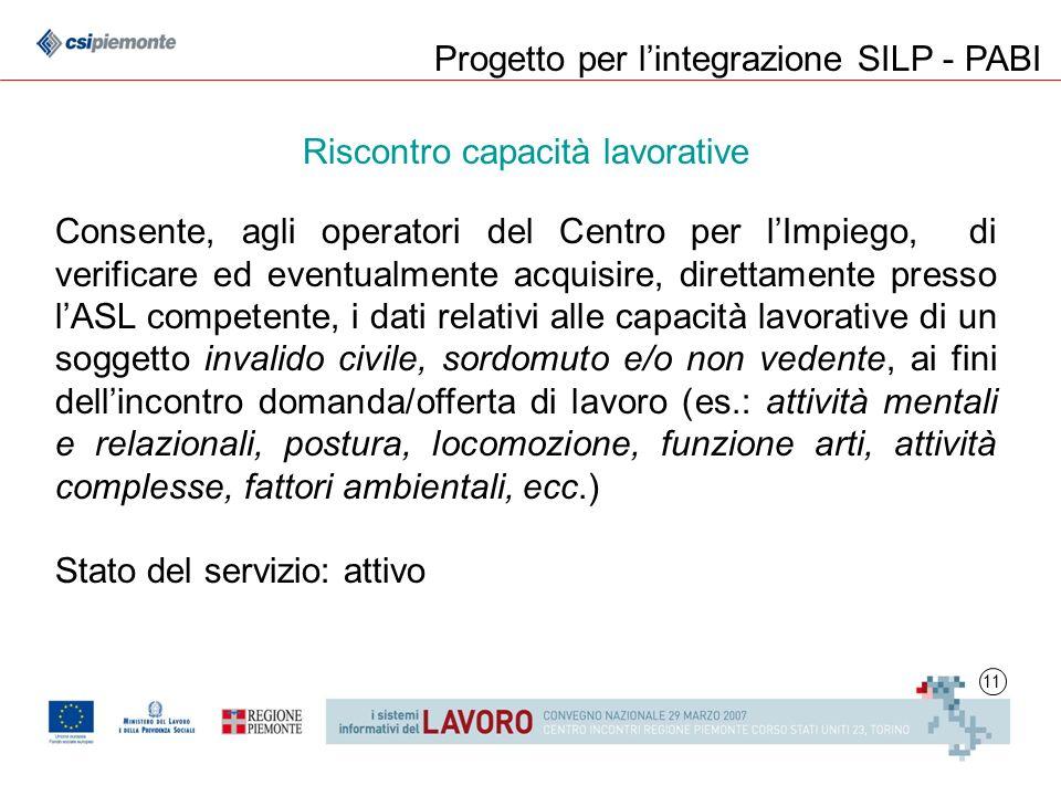 11 Progetto per lintegrazione SILP - PABI Riscontro capacità lavorative Consente, agli operatori del Centro per lImpiego, di verificare ed eventualmen