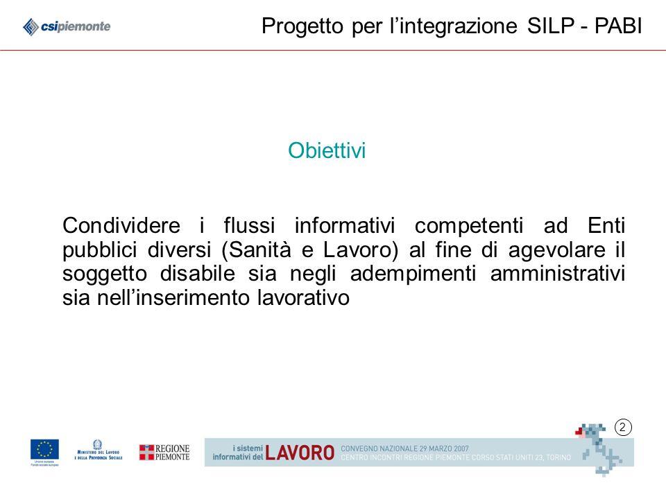 2 Progetto per lintegrazione SILP - PABI Condividere i flussi informativi competenti ad Enti pubblici diversi (Sanità e Lavoro) al fine di agevolare i