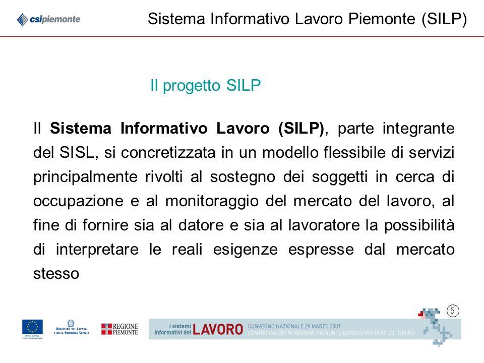 5 Il Sistema Informativo Lavoro (SILP), parte integrante del SISL, si concretizzata in un modello flessibile di servizi principalmente rivolti al sost