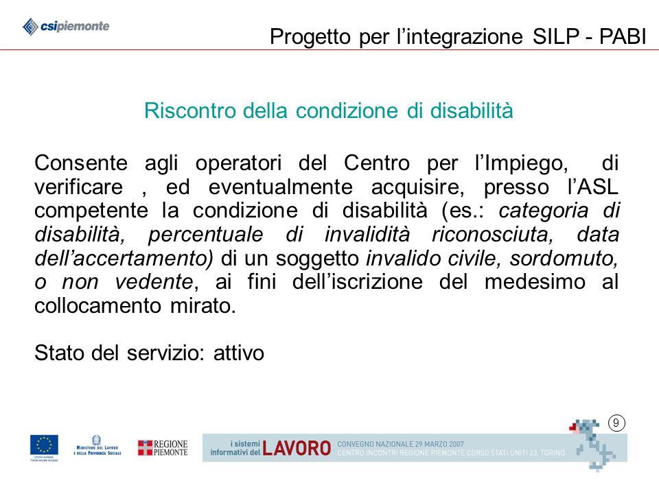 9 Consente agli operatori del Centro per lImpiego, di verificare, ed eventualmente acquisire, presso lASL competente la condizione di disabilità (es.: