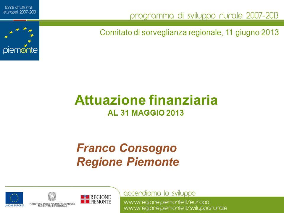 Attuazione finanziaria AL 31 MAGGIO 2013 Comitato di sorveglianza regionale, 11 giugno 2013 Franco Consogno Regione Piemonte
