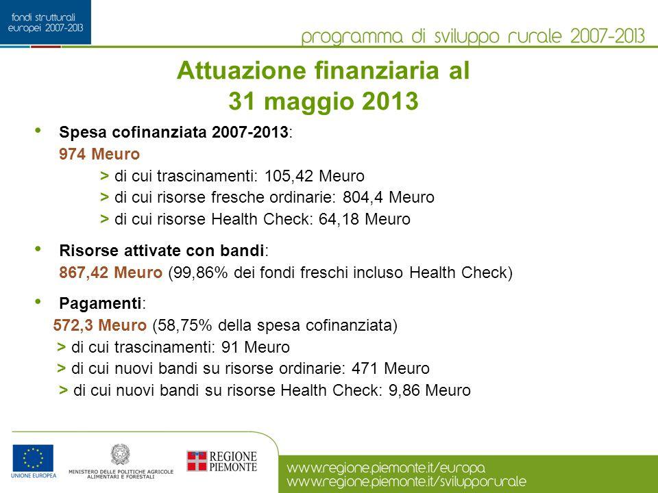 Attuazione finanziaria al 31 maggio 2013 Spesa cofinanziata 2007-2013: 974 Meuro > di cui trascinamenti: 105,42 Meuro > di cui risorse fresche ordinarie: 804,4 Meuro > di cui risorse Health Check: 64,18 Meuro Risorse attivate con bandi: 867,42 Meuro (99,86% dei fondi freschi incluso Health Check) Pagamenti: 572,3 Meuro (58,75% della spesa cofinanziata) > di cui trascinamenti: 91 Meuro > di cui nuovi bandi su risorse ordinarie: 471 Meuro > di cui nuovi bandi su risorse Health Check: 9,86 Meuro