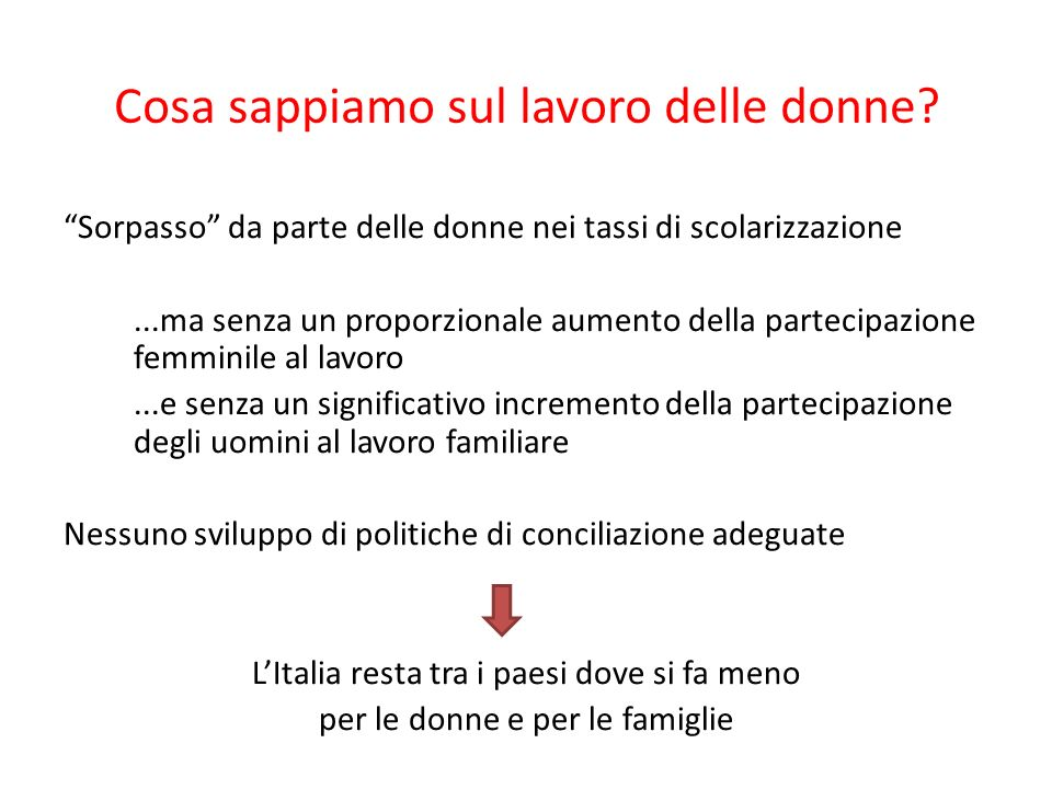 1) Le donne italiane sono stracariche di lavoro domestico e di cura Se si somma lavoro remunerato e lavoro domestico le donne italiane lavorano unora al giorno in più degli uomini e hanno meno tempo libero di loro.