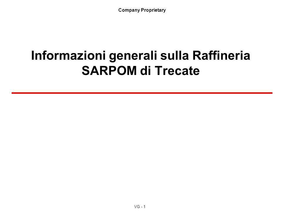 VG - 1 Company Proprietary Informazioni generali sulla Raffineria SARPOM di Trecate