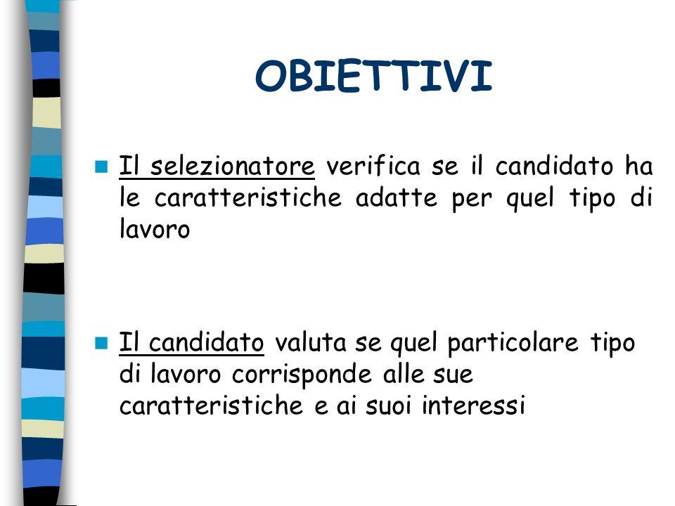 OBIETTIVI Il selezionatore verifica se il candidato ha le caratteristiche adatte per quel tipo di lavoro Il candidato valuta se quel particolare tipo di lavoro corrisponde alle sue caratteristiche e ai suoi interessi