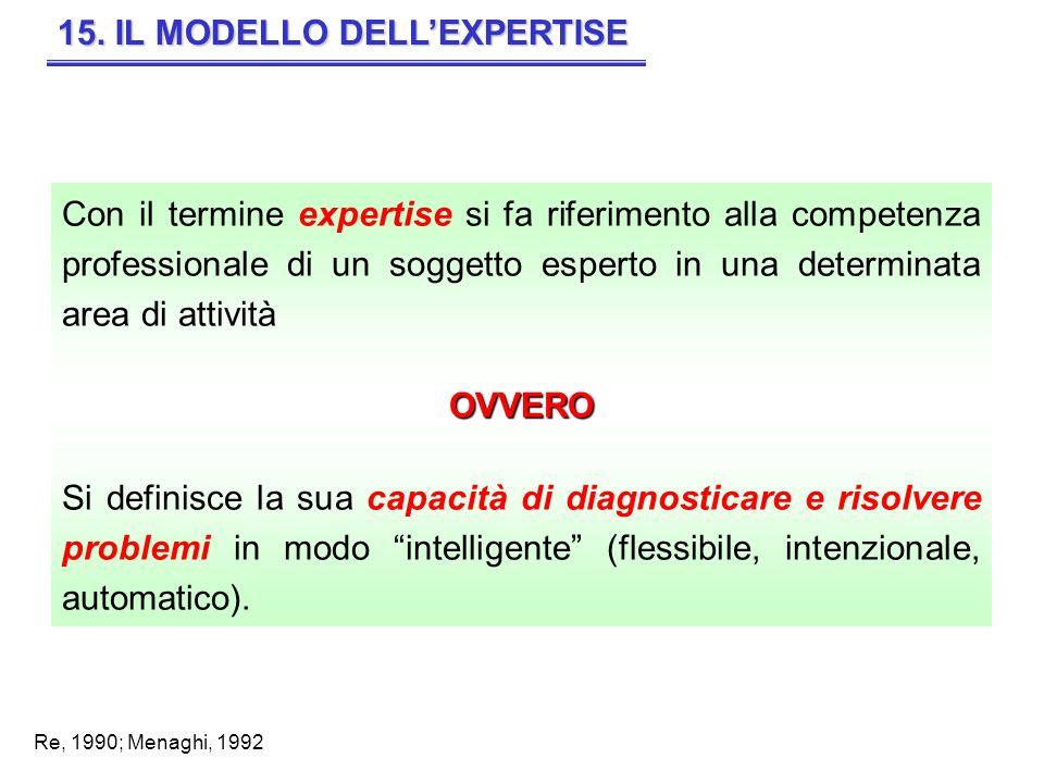 15. IL MODELLO DELLEXPERTISE Con il termine expertise si fa riferimento alla competenza professionale di un soggetto esperto in una determinata area d