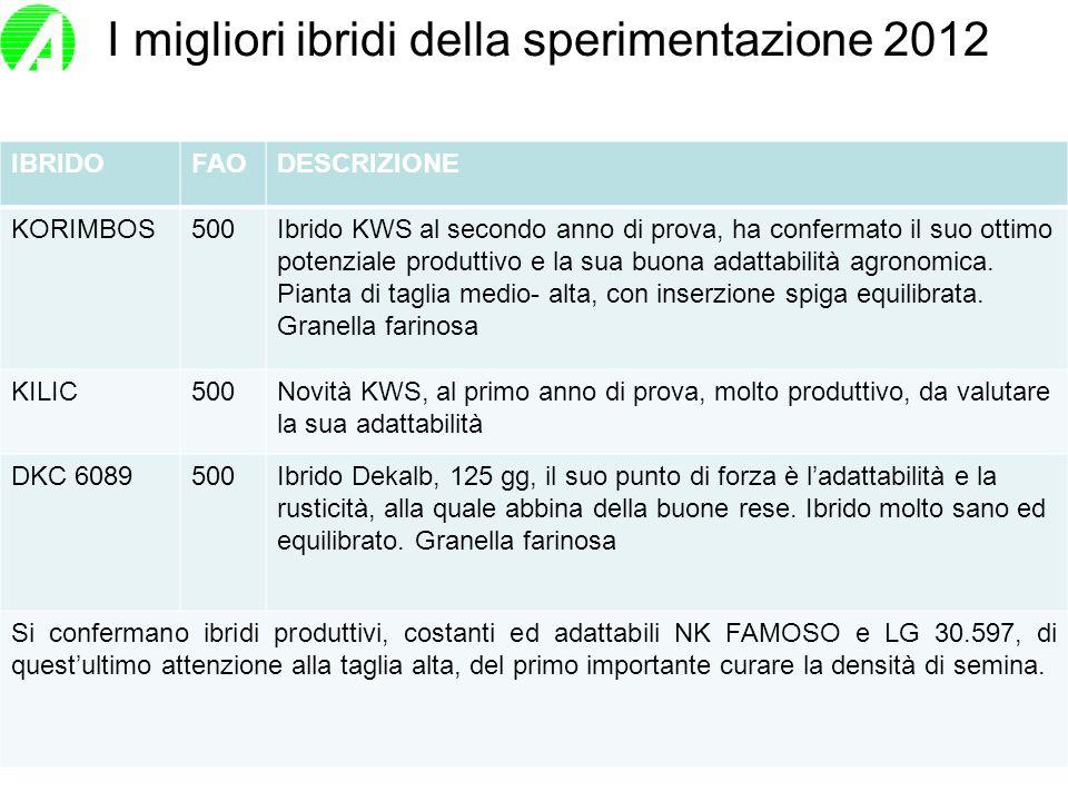 I migliori ibridi della sperimentazione 2012 IBRIDOFAODESCRIZIONE KORIMBOS500Ibrido KWS al secondo anno di prova, ha confermato il suo ottimo potenzia
