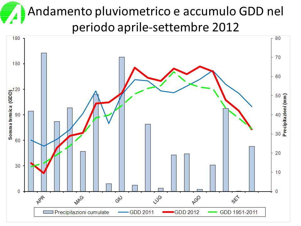 Annata maidicola 2012 Precipitazioni aprile/settembre: 2011= 355 mm 2012= 498 mm Δ = 143 mm Abbondanti in aprile/maggio, molto scarse in luglio/agosto.