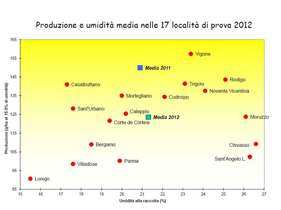 Caratteristiche produttive di ibridi di mais in Piemonte(2012).
