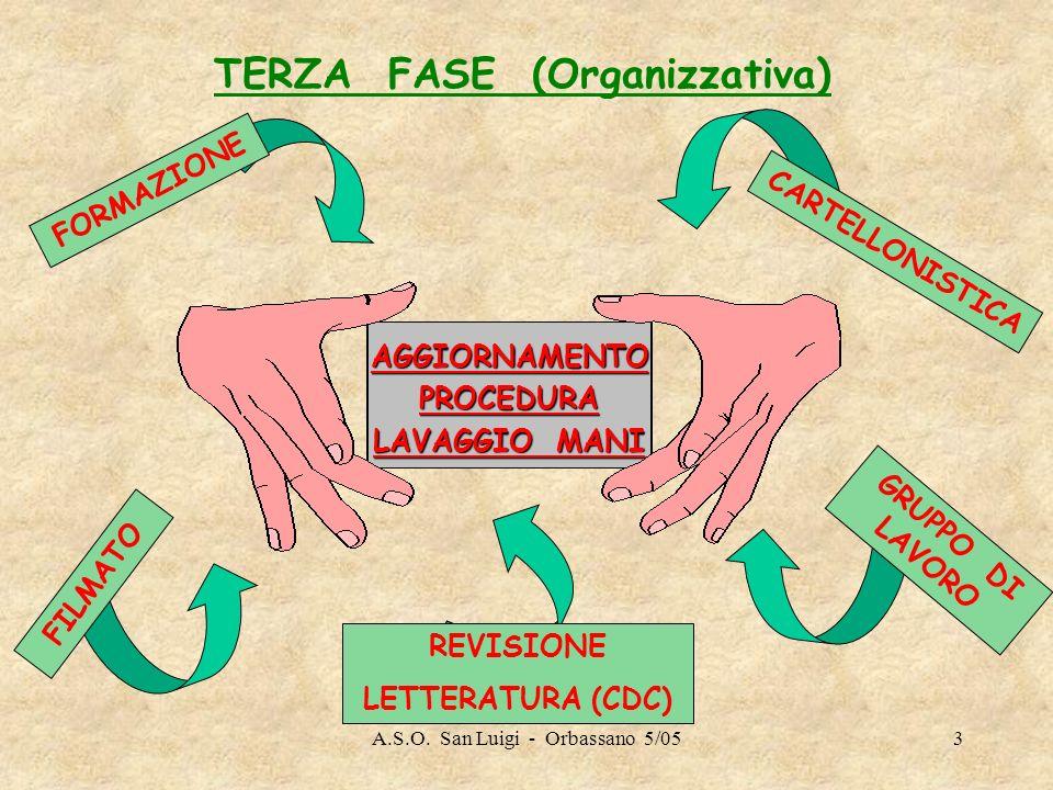 A.S.O. San Luigi - Orbassano 5/053 TERZA FASE (Organizzativa) AGGIORNAMENTOPROCEDURA LAVAGGIO MANI GRUPPO DI LAVORO FILMATO CARTELLONISTICA FORMAZIONE