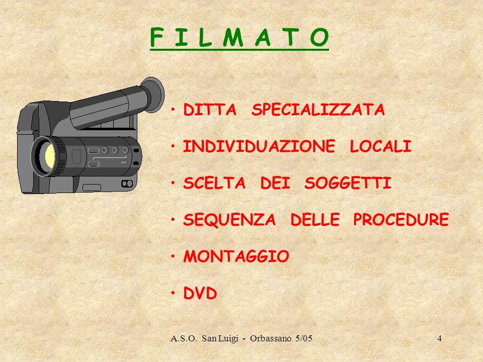 A.S.O. San Luigi - Orbassano 5/054 F I L M A T O DITTA SPECIALIZZATA INDIVIDUAZIONE LOCALI SCELTA DEI SOGGETTI SEQUENZA DELLE PROCEDURE MONTAGGIO DVD