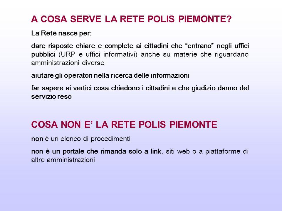 LA RETE POLIS PIEMONTE: GLI ENTI 63 amministrazioni che operano in Piemonte: 6 Province 32 Comuni 4 Camere di Commercio, 3 Aziende sanitarie 2 Comunità montane 16 enti tra cui ARPA, INPS, Agenzia delle Entrate e delle Dogane, ACI, Tribunali, Prefetture Aderire è facile e si può fare interamente on line 260 Operatori (40 della Regione Piemonte)