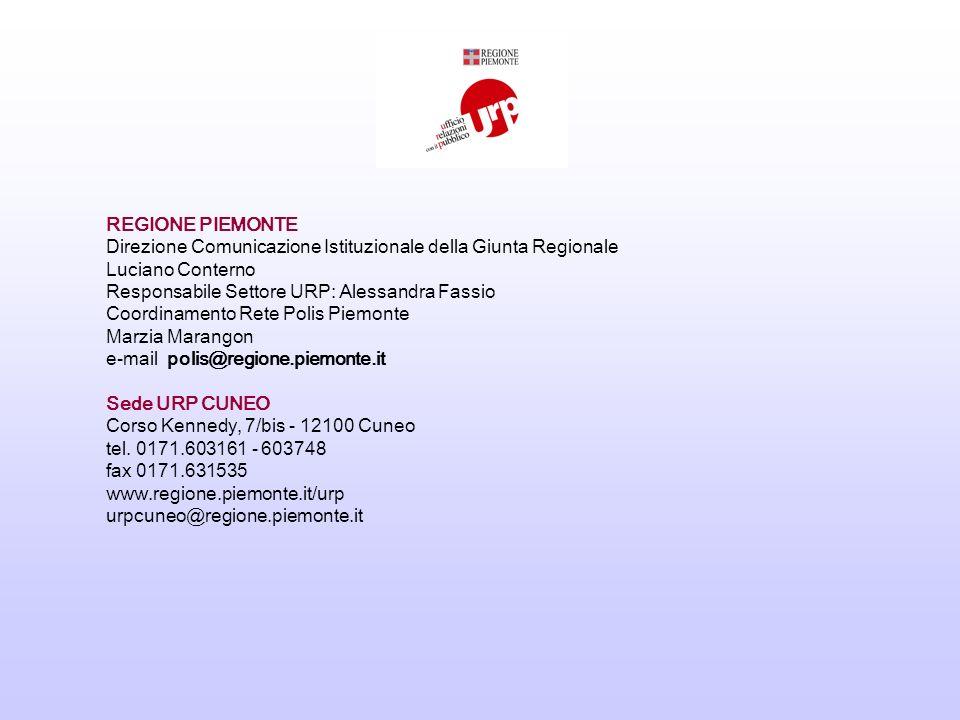 REGIONE PIEMONTE Direzione Comunicazione Istituzionale della Giunta Regionale Luciano Conterno Responsabile Settore URP: Alessandra Fassio Coordinamento Rete Polis Piemonte Marzia Marangon e-mail polis@regione.piemonte.it Sede URP CUNEO Corso Kennedy, 7/bis - 12100 Cuneo tel.