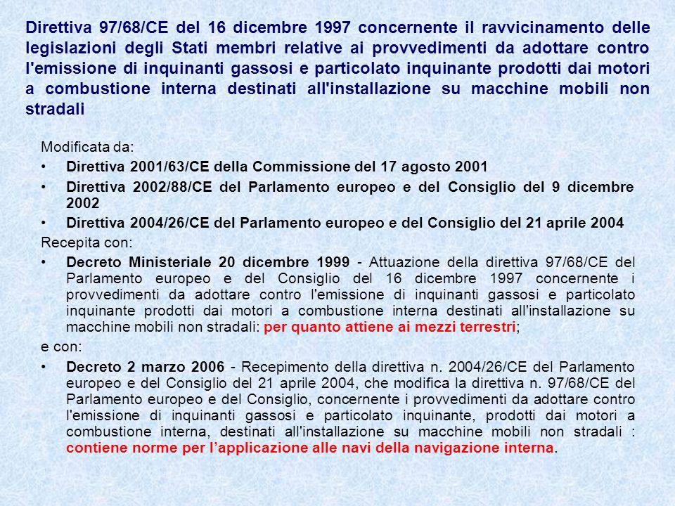 Direttiva 97/68/CE del 16 dicembre 1997 concernente il ravvicinamento delle legislazioni degli Stati membri relative ai provvedimenti da adottare cont