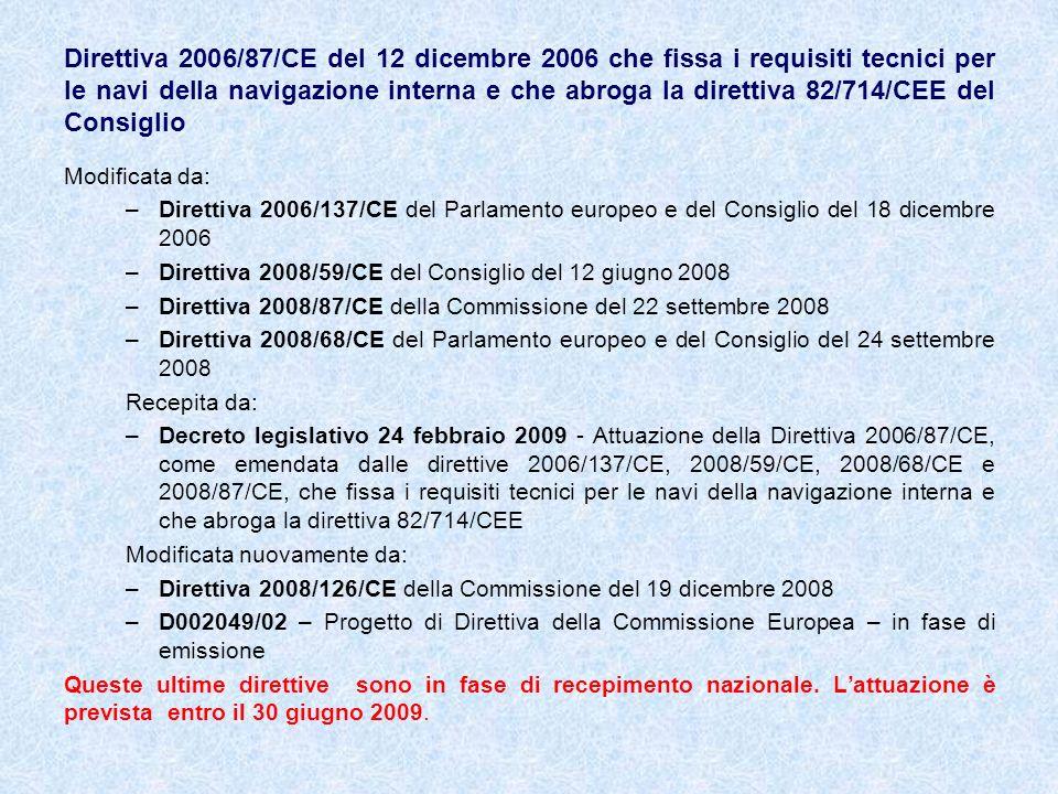 Direttiva 2006/87/CE del 12 dicembre 2006 che fissa i requisiti tecnici per le navi della navigazione interna e che abroga la direttiva 82/714/CEE del