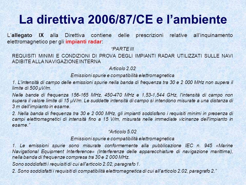 La direttiva 2006/87/CE e lambiente Lallegato IX alla Direttiva contiene delle prescrizioni relative allinquinamento elettromagnetico per gli impianti