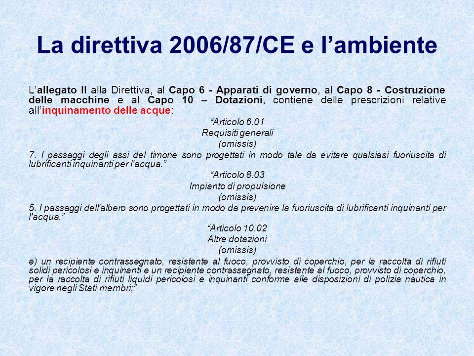 Lallegato II alla Direttiva, al Capo 6 - Apparati di governo, al Capo 8 - Costruzione delle macchine e al Capo 10 – Dotazioni, contiene delle prescriz