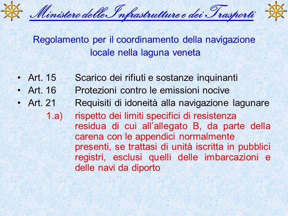 Ministero delle Infrastrutture e dei Trasporti Regolamento per il coordinamento della navigazione locale nella laguna veneta Art. 15Scarico dei rifiut